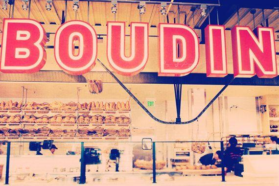 San Francisco photo, Boudin sour dough bread, Fisherman's Wharf, pier 39, red, restaurant cafe, kitchen decor, print. $35.00, via Etsy.