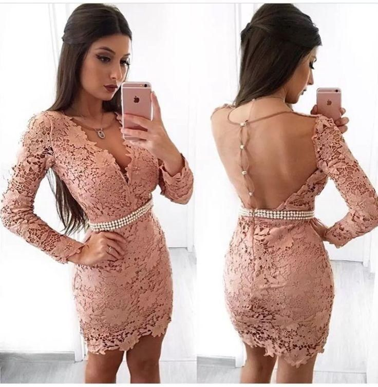 Vestidos De Baile Boho, Bainha Com Decote Em V Mangas Compridas Blush Lace Homecoming Dress 2020 with Pearls   – Vestidos