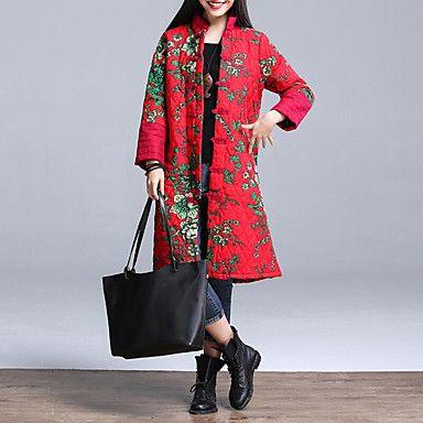 Dames+Bloemen+Lang+Gewatteerd+Jas-Casual/Dagelijks+/+Grote+maten+Vintage+Polyester+Katoen+Opstaand+Lange+mouw+Rood+–+EUR+€+28.41