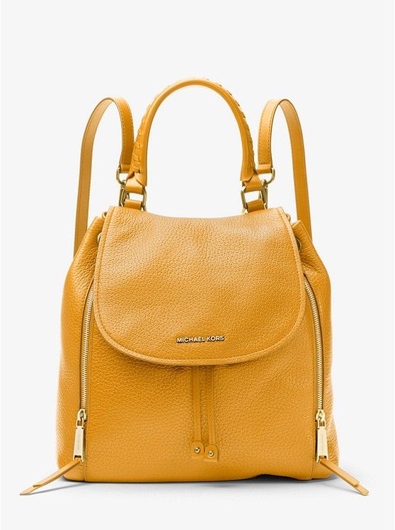 e243bb9bf175 MICHAEL KORS Viv Large Leather Backpack in Marigold~ Today s Fashion Item