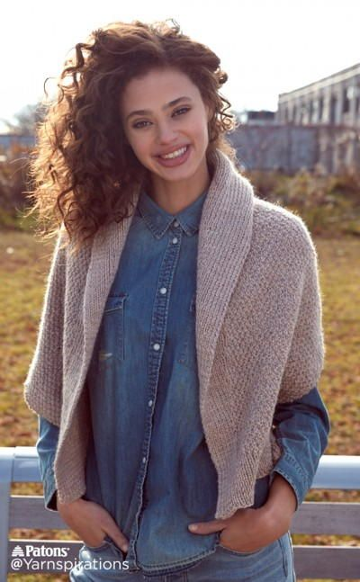The Knit Envelope Cardigan is an easy pattern featuring a shawl collar and textured stitch. The worsted weight yarn gives this knitted cardigan warmth without excess bulk. Fold yourself up in this dreamy design.