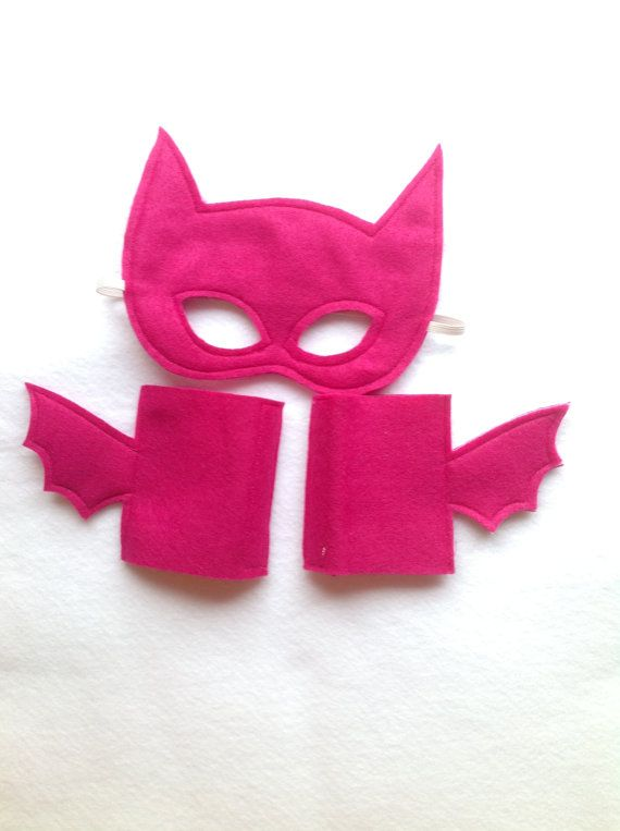 PINK Batman Batgirl Mask and Cuffs Set by Mahalo on Etsy, $18.00