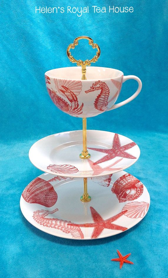 3 Tier cake Stand. Coastal entertaining for by HelensRoyalTeaHouse, $78.00