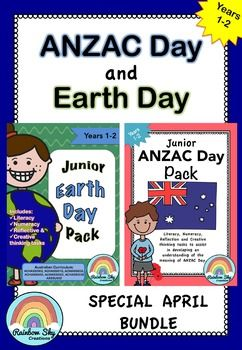 Junior ANZAC Day and Earth Day April BUNDLE Years 1-2 ~ Rainbow Sky Creations ~