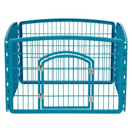 Iris 4-Panel Pet Pen with Door, Red, Blue