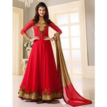 Urvashi Rautela Georgette Border Work Red Semi Stitched Long Anarkali Suit - K2075