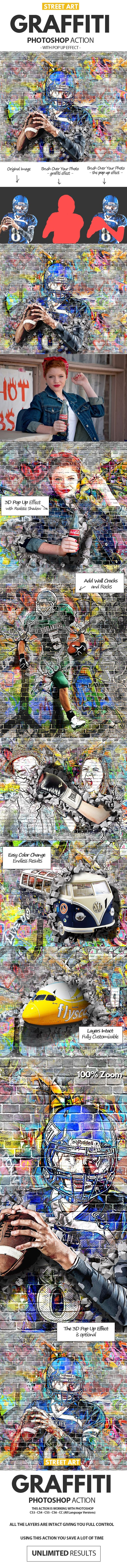 Graffiti Effect with Pop Up Photoshop Action - Photo Effects Actions