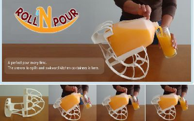 The Roll 'n Pour provides help pouring liquids from gallon jugs, half-gallon jugs and two-liter bottles. One device cradles all 3 of these sizes. It provides pouring for children, seniors and those users who have arthritic hands or wrists and limited use of one hand. It is easy to use. Just set the container in the cradle and tilt it toward your glass. The Roll 'n Pour does the rest.