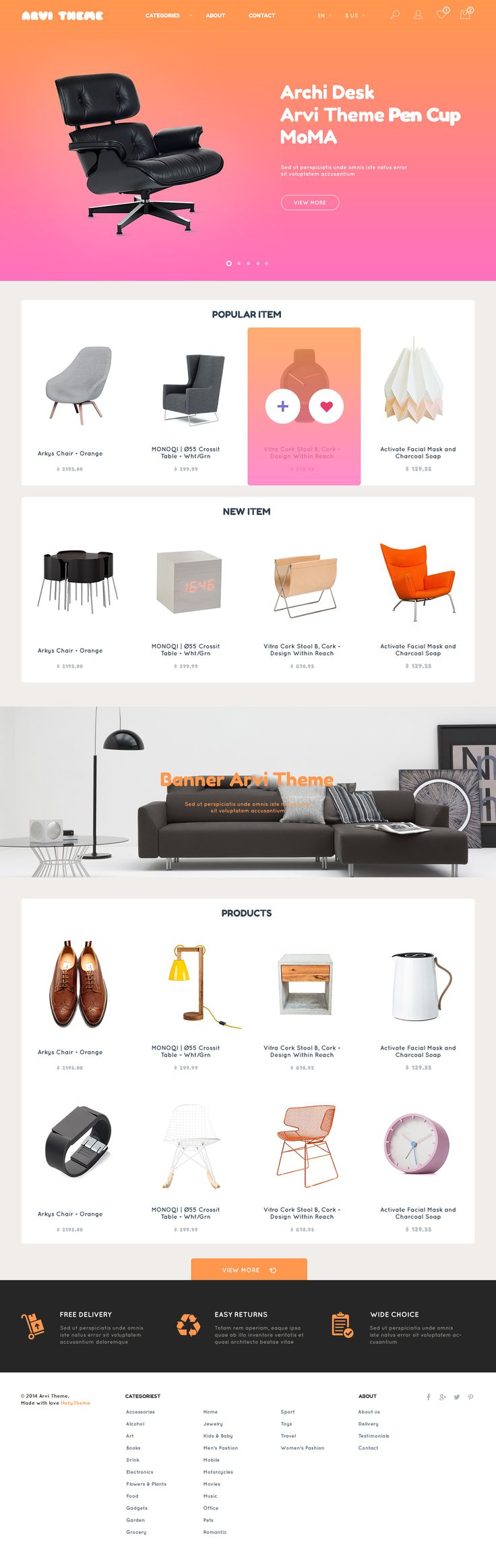 Arvi: Free E-commerce Website Template