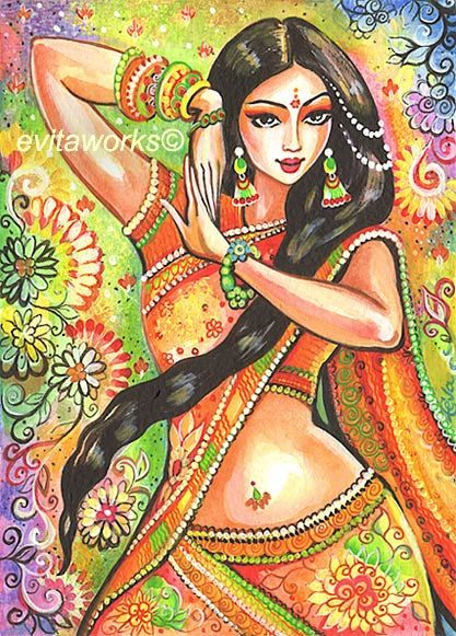 Indian Dancer Indian Art Indian Painting Dancing by evitaworks, $16.00