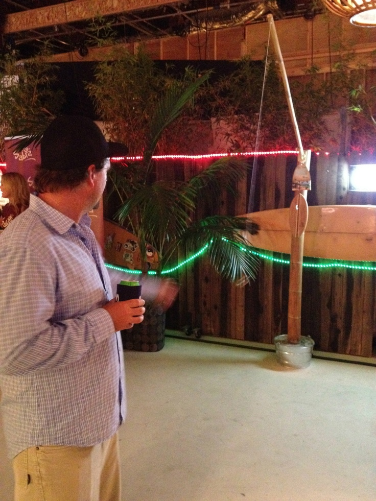Kyle playing Tiki Toss on the set of