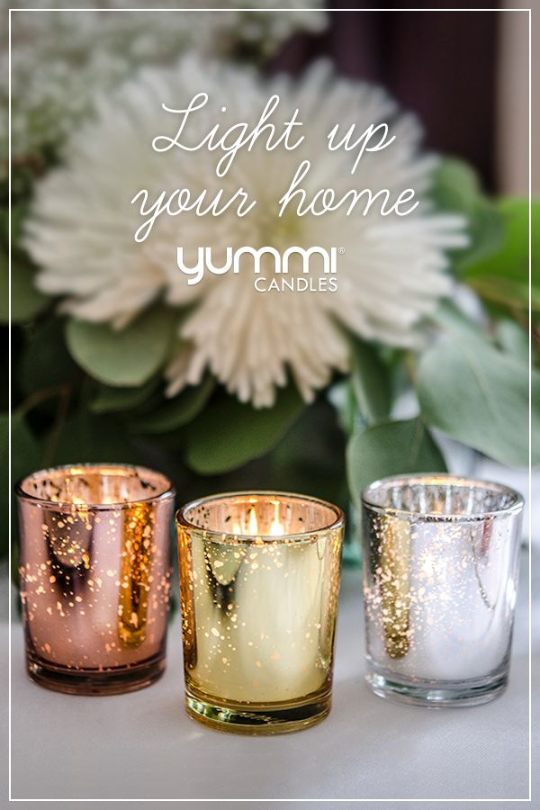 Yummi Set of 36 10 Hour Votive Candles /& Metallic Holders Rose Gold Metallic