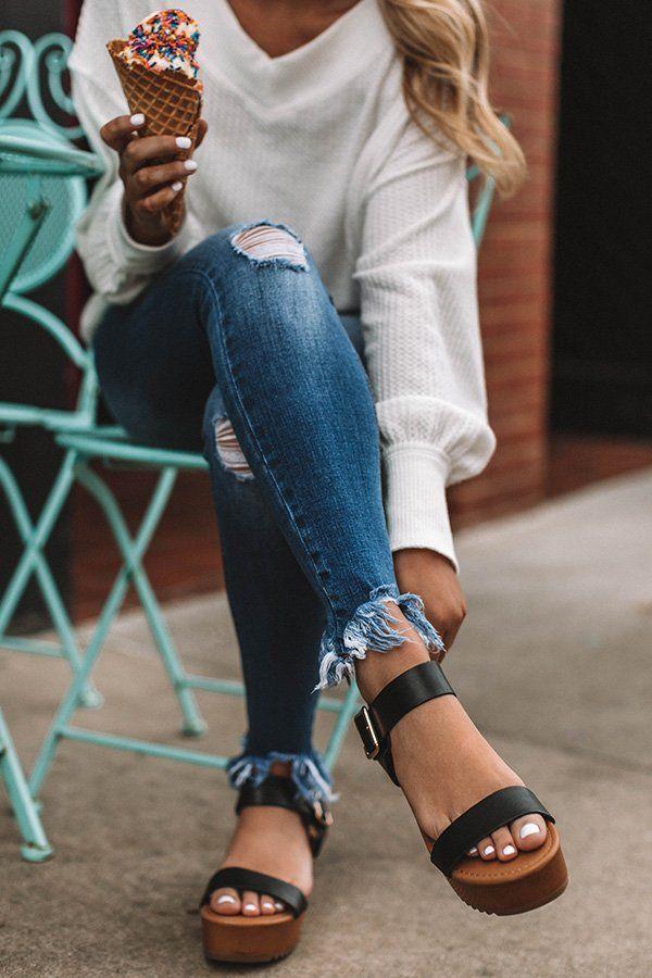 Raleigh Platform Sandal In Black-$32