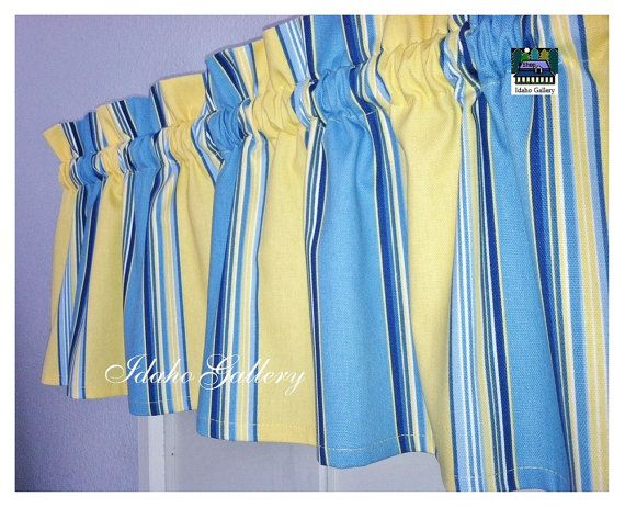 Blue Yellow Stripe Window Valance Little Curtain Modern