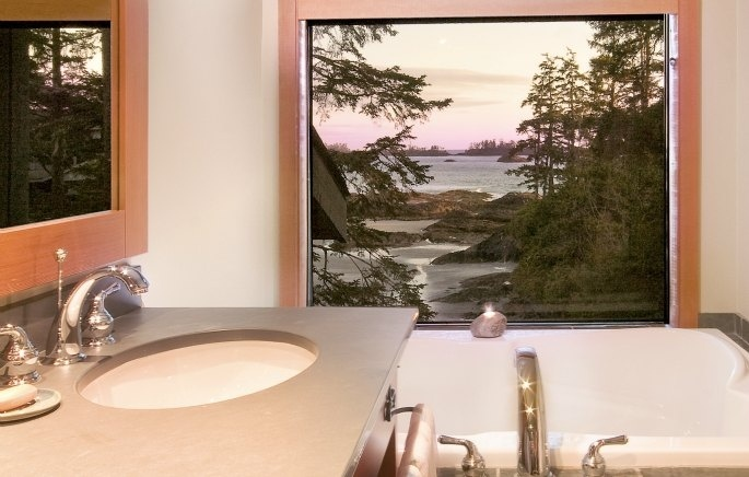 No, that's not a wall painting.  That is the view from your double soaker tub.