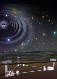 Above the scientists' laser triangle, the sky swirls in a gigantic star circle.