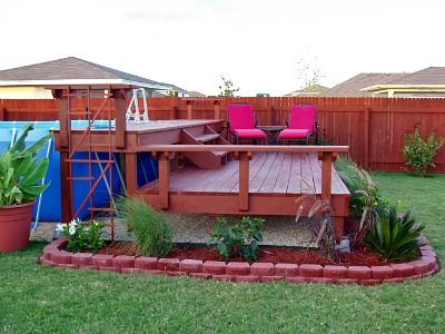 pool deck designs for above ground pools | Above Ground Pool Landscaping Ideas, Swimming Pool Landscape Pictures