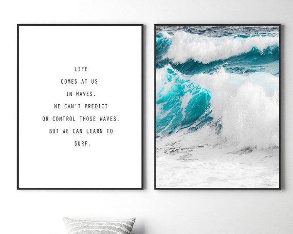 Surf Beach Quotes Ocean 100/% cotton Canvas Quality print wall art Home Decore