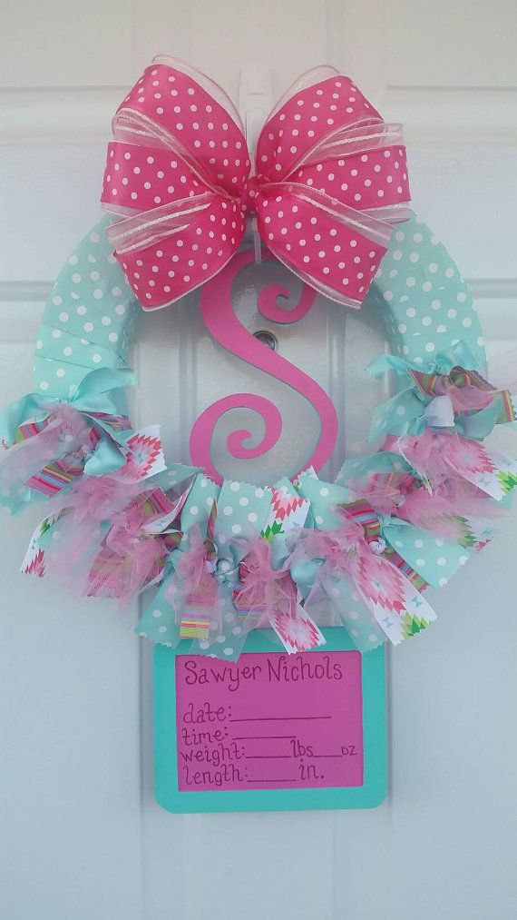 16 Inch Wreath Shown in Photo - Approx. 20 inches long  2 week production time - each wreath is custom made  Ships 1-3 days after production is complete  Request Custom Listing for different colors and/or patterns  Please list below in order notes: Baby Name (for board) Event Month and Day