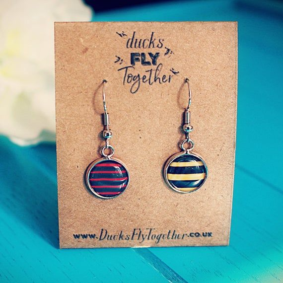 Rugby Earrings Gift For Rugby Fan Saracens Harlequins Gloucester Leicester Tigers Bath North Earrings Leicester Tigers Rugby