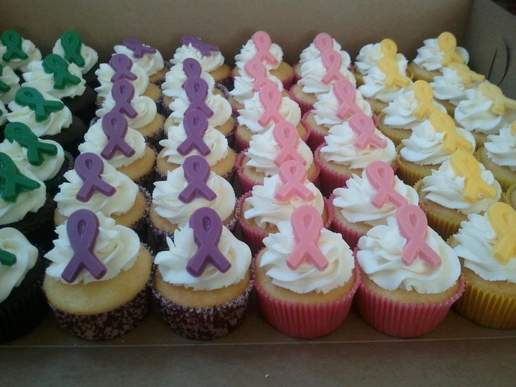 Relay for life cupcakes! Great way to honor and support all the different types of cancer.