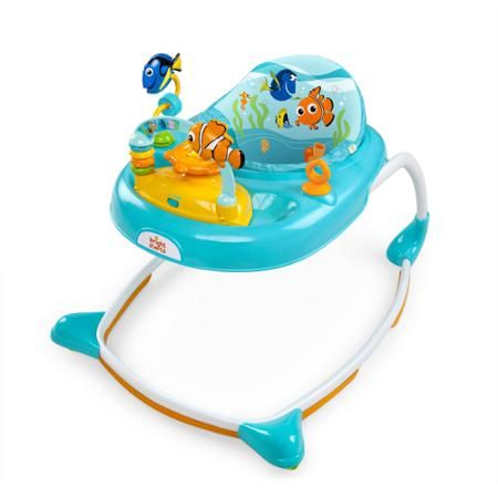 """The Disney Baby FINDING NEMO Sea & Play Walker provides sturdy support for little ones """"on the go!"""" As baby moves from crawling to taking first steps, the durable elliptical frame from Disney Baby provides the sturdy platform baby needs. Baby will find plenty ocean-themed activities in the removable toy station that's great for floor play and on-the-go."""