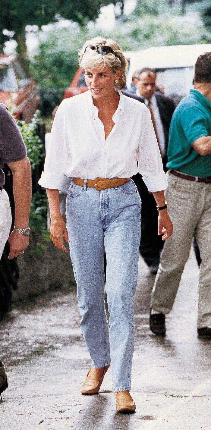 6 princess diana denim outfit formulas that look cooler than ever denim outfit white shirt outfits white shirt and jeans 6 princess diana denim outfit formulas