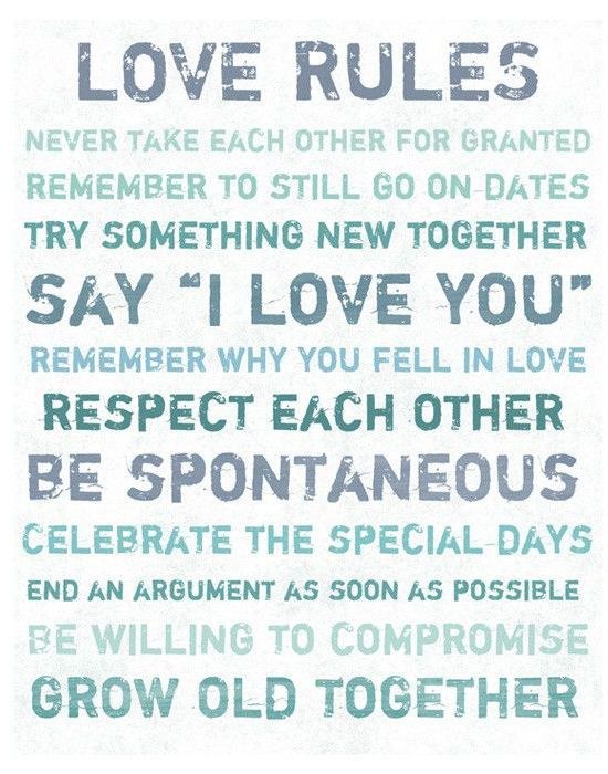 Love Rules Quote Canvas Art <3