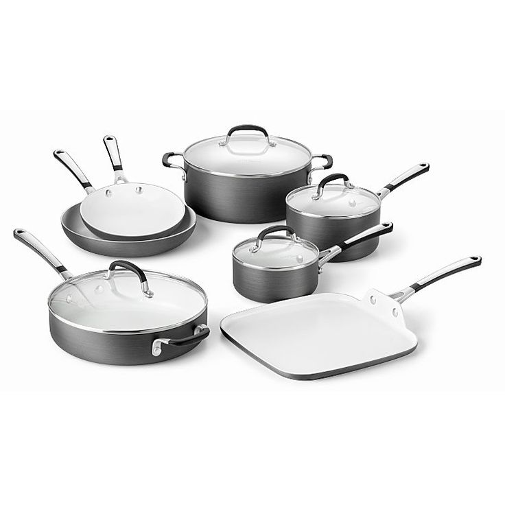 From breakfast in the morning to dinner at night, the Calphalon Simply hard anodized ceramic 11-piece cookware set. Finished with a non-stick coating, this contemporary cookware set brings a sleek look and consistent results to your home.