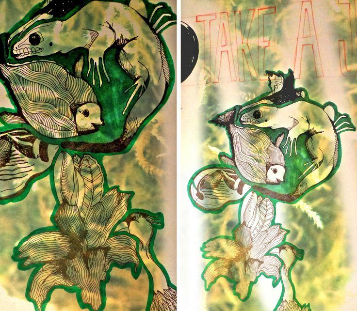 jungle mixing animals illustration