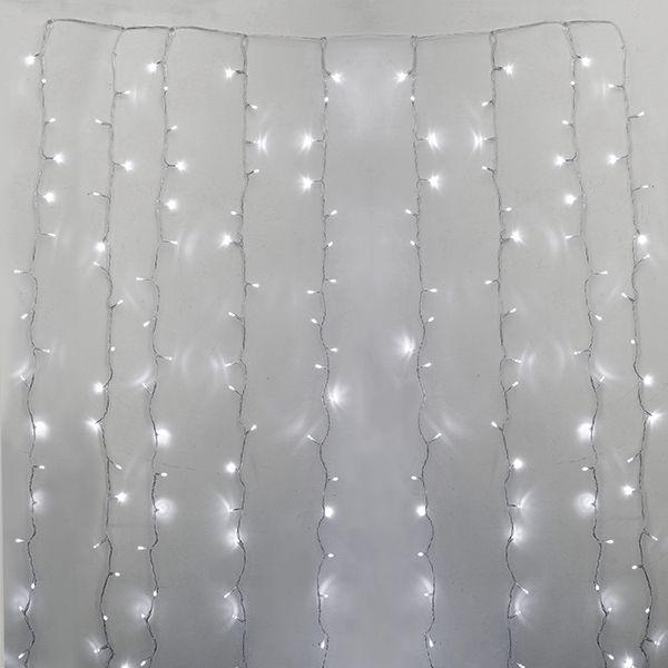 Rideau de 600 lumières led blanc pur, fil clair, int./ext. 1