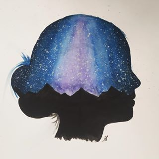 """The mind is not a vessel to be filled, but a fire to be kindled"" - Plutarch   #mind #girl #space #mountains #watercolor #waterpaint #waterpainting #watercoloring"