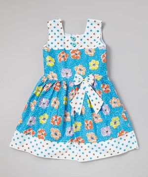 Look what I found on #zulily! Blue Polka Dot Floral Pleated Dress - Toddler & Girls by Sam de Fleur #zulilyfinds