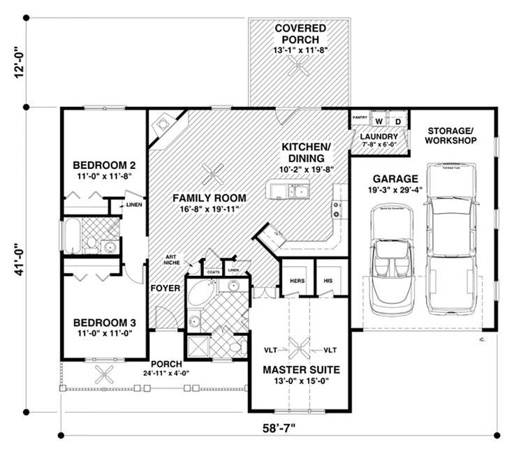 Ranch style house plan 3 beds 2 baths 1457 sq ft plan for Simple ranch house plans with basement