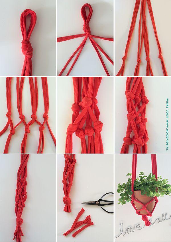 hangende plant maken, diy hangende plantenpot, maak zelf een hangende plant