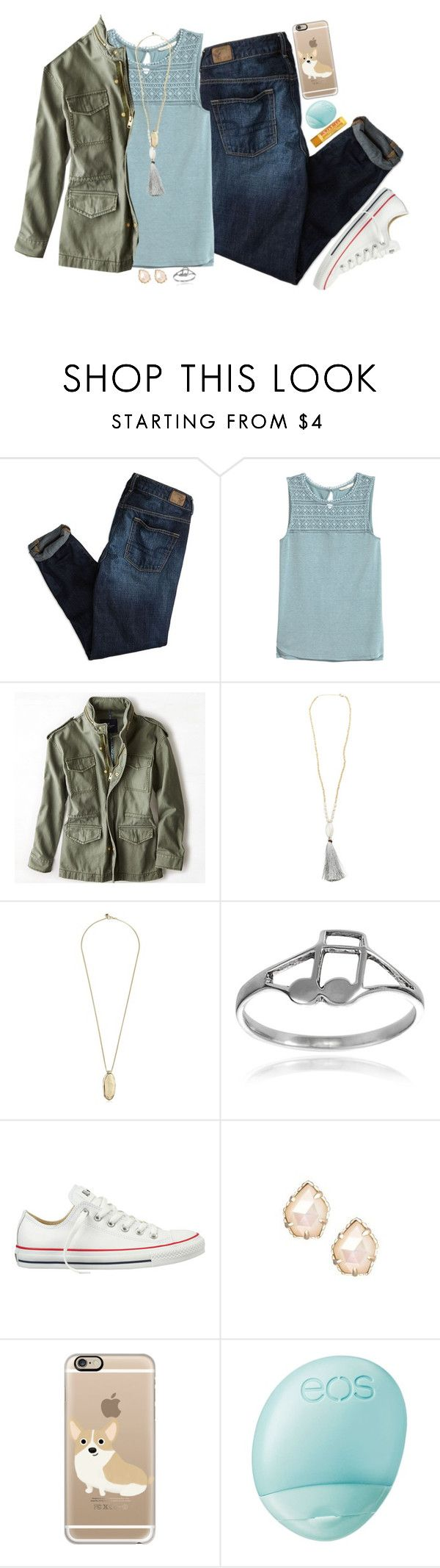 """""""High School ... Gotta Love It ... Or Nah"""" by madfashionaddict ❤ liked on Polyvore featuring American Eagle Outfitters, H&M, Sam Edelman, Journee Collection, Converse, Kendra Scott, Casetify, Eos and Burt's Bees"""