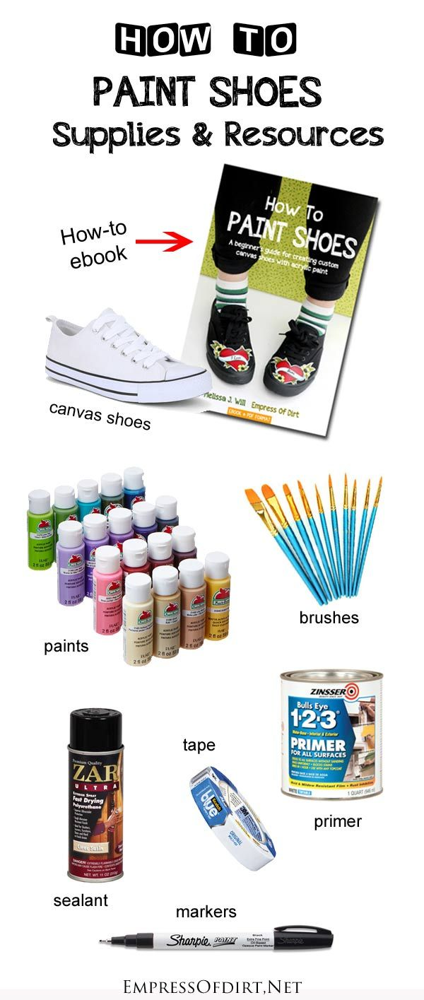 How to Paint Shoes: A beginner's guide to creating custom canvas shoes with acrylic paint. Here's a list of all of the supplies we recommend for best results. If you're interested in customizing shoes with fan-art or your own unique designs, this is a good place to start.