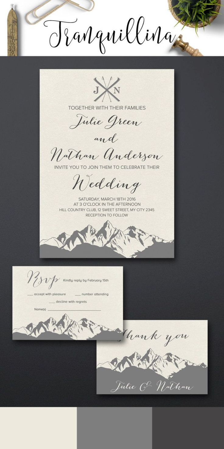 how to make your own printable wedding invitations%0A Winter wedding Invitations Printable  Mountain Wedding Invitation suite   pinned by pin etsy com