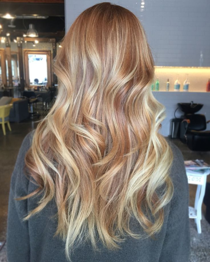 Strawberry blonde balayage by Mari at baroque salon Tacoma, WA