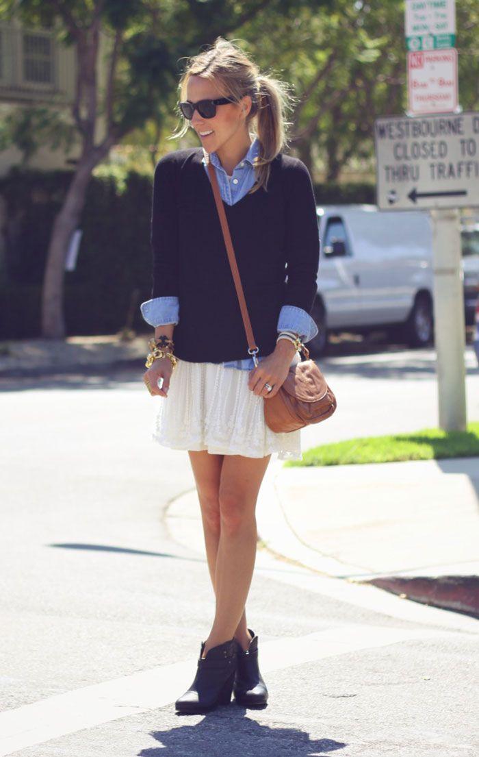 denim shirt, black v-neck, off-white skirt