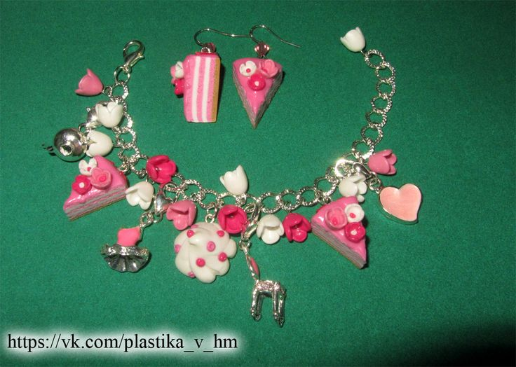 HM polymer clay set bracelet  and earrings for little princess