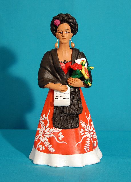 "This ceramic figure of artist Frida Kahlo is an adaptation of her painting ""Self Portrait Dedicated to Leon Trotsky 1937"" This is the creation of Oaxacan ceramic artist Concepcion Aguilar of Ocotlan Oaxaca Mexico."