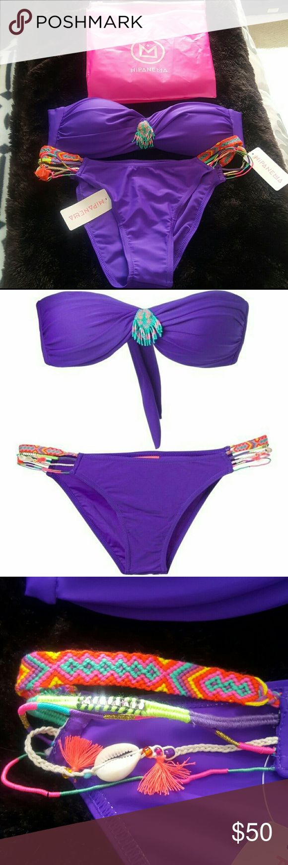 NWT HIPANEMA Bathing Suit NWT HIPANEMA  Purple bikini has bandeau top with beaded accent and multiple braided strands on bottom The SwimPurple bikini is feminine and daring at the same time. The twisted bandeau top ties in the back, is comfortably padded and has a small beaded ornament that highlights the fabric twist. The bottoms show you at your best with a Brazilian cut!  Too small for me, comes with swim bag too! HIPANEMA  Swim Bikinis