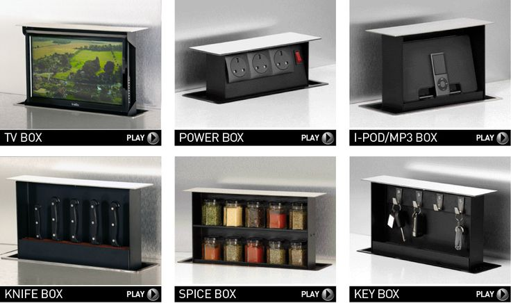 How cool is this?! It's the S-Box. This pop-up storage is installed in your kitchen in the back of a cabinet maximizing wasted space. You just tap the top and up pops your knife set, TV, Ipod, Spices, whatever.