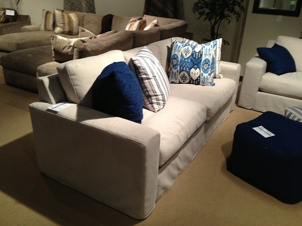 White Sectional And Blue Pillows By Stanton Furniture. //  Www.KeyHomeFurnishings.com
