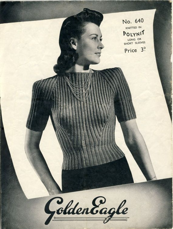 """GOLDEN EAGLE No. 640 Knitting Pattern. """"Lady's Tailored Ribbed Jumper"""" with Short or Long Sleeves. PDF at Patternalia Vintage"""