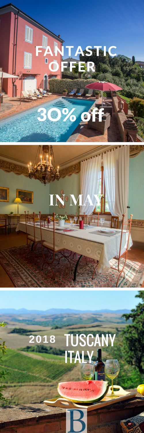 For any stay during month of May, get 30% off in this incredible luxury villa located in Tuscany, Italy. click on the picture to get more information.