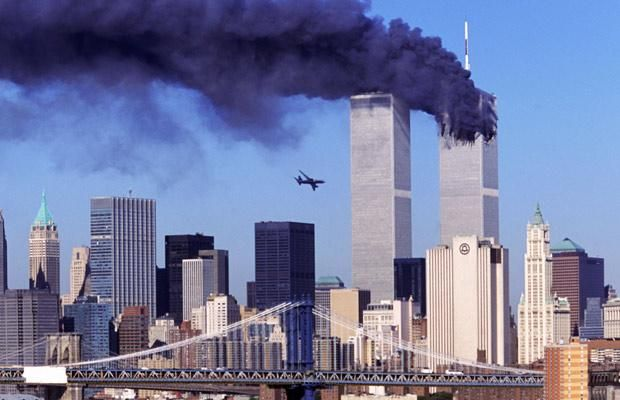 Hijacked United Airlines Flight 175, which departed from Boston en route for Los Angeles, is shown in a flight path for the South Tower of the World Trade Towers Sept, 11, 2001
