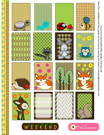 FREE Woodland animals Planner Stickers for Happy Planner and Erin Condren Life Planner by Cutedaisy