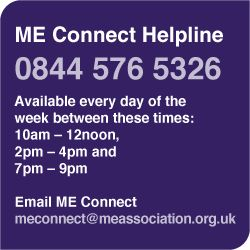 ME Association  Welcome to The ME Association, also registered as The ME Society.     We provide information, support and practical advice for people, families and carers affected by M.E. (Myalgic Encephalopathy), Chronic Fatigue Syndrome (CFS) and Post Viral Fatigue Syndrome (PVFS). We also fund and support research, and offer education and training.     We are the oldest established ME/CFS charity funding only biomedical research into the illness  http://www.meassociation.org.uk/